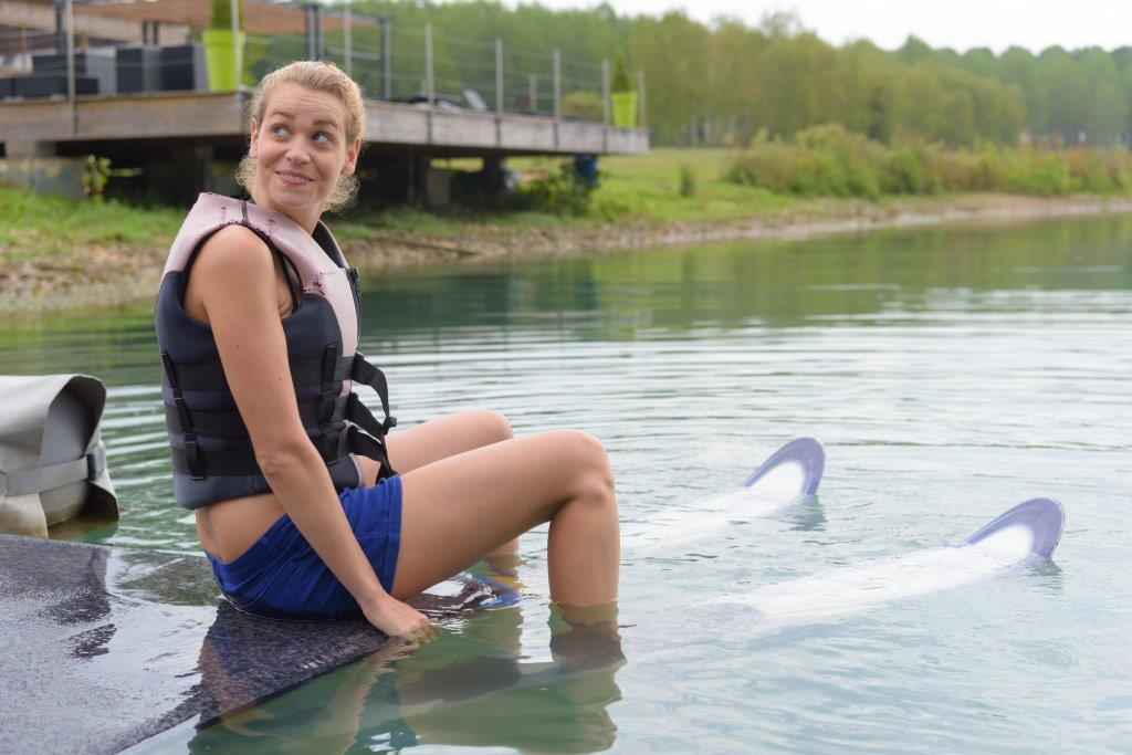 Water Ski student preparing for take off